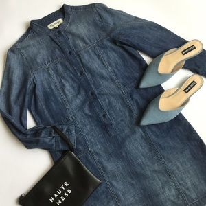 Madewell Denim Jean Shirt Dress Long Sleeve Blue